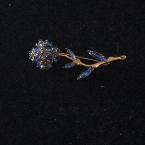 Vintage Royal Blue Crystal Flower Brooch Pin